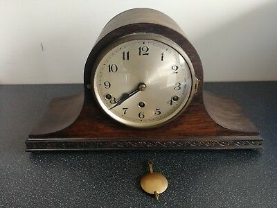 Old Wooden Cased Napoleon Hat Shaped Westminster Chiming Mantel Clock