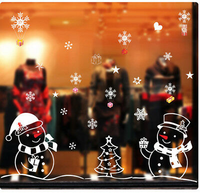 White Snowman Wall Sticker Christmas Glass Window Decals Xmas Home Bar Decor