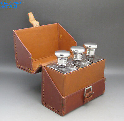 Wonderful Leather Cased Set 3 Solid Silver Topped Glass Cologne Bottles 1923