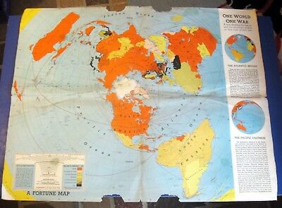 WORLD WAR TWO ~ 1942 Fortune Magazine Map of Allies
