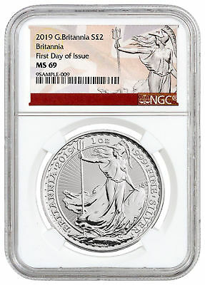 2019 Great Britain 1 oz. Silver Britannia £2 Coin NGC MS69 FDI SKU55931