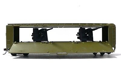 HO Scale Model Railroad Trains Layout US Army Car with Hidden Tank Buster Guns