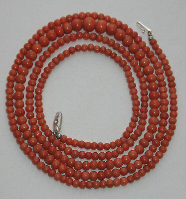 32 gr. Natural SALMON coral necklace round BEADS wonderful quality silver CLASP