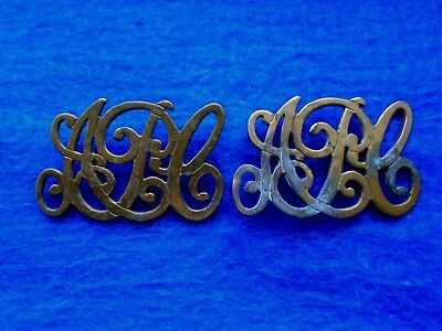 Pair Of Late Victorian Or Early Edwardian Army Pay Corps Brass Shoulder Titles