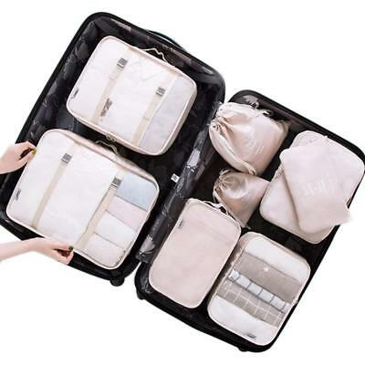 Belsmi 8 Set Packing Cubes Compression Travel Luggage Organizer Shoes Bag Beige
