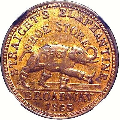 1863 Albany New York Civil War Token Straights Elephant In Boots NGC MS63 RB