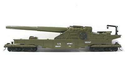 HO Scale Model Railroad Trains Layout US Army Military Car with Big Gun 99163