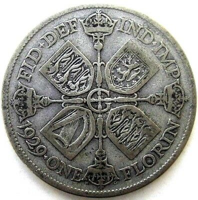 Great Britain Uk Coins, One Florin 1929, George V, Silver 0.500