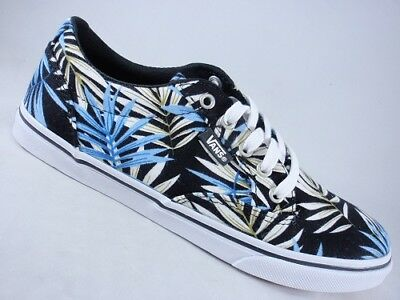 8e54f0ce1e VANS Winston Black+Blue Women s Sneakers Palm Leaf Print Skate Shoes NEW