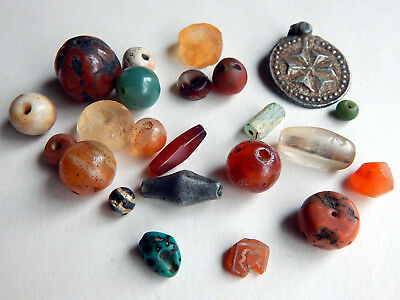 Ancient Pumtek Carnelian Turquoise Naga Coins Group of 23 Pendants Beads Amulets