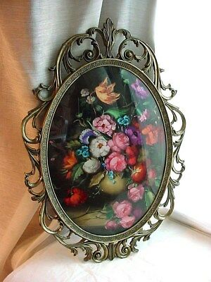 Vtg Old World Italian Floral Bouquet Picture Oval Ornate Metal Frame 12 Inch