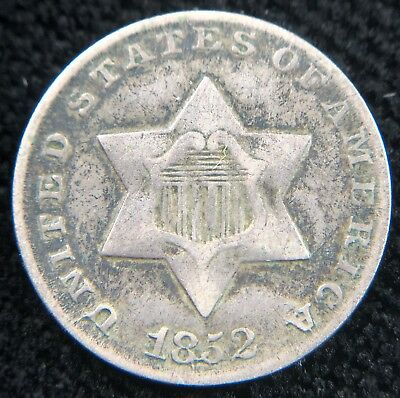 1852 Collectible Silver 3 Cent Piece (b447.44)
