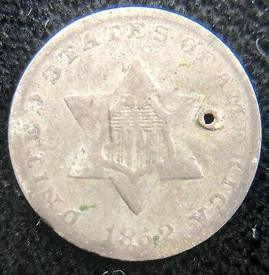 1852 Collectible Silver 3 Cent Piece (b447.45)