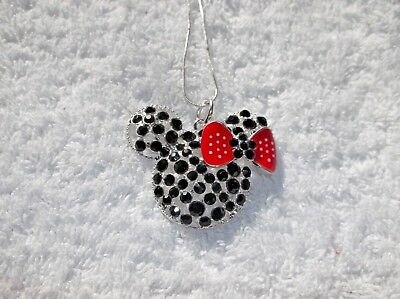 MINNIE MOUSE Ears Black & Red Large Charm NECKLACE + Rhinestones Gift