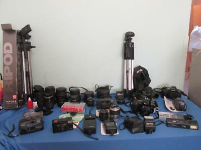 Joblot Bundle of 7 Mixed Film Cameras & Accessories -Untested -Spares/Repairs