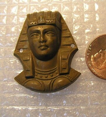 Vintage BRASS  METAL  Art DECO   Egyptian REVIVAL  PHARAOH  PENDANT Finding