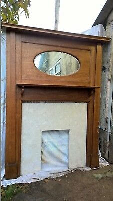 Beautiful Large Antique Oak Fire Surround With oval Mirror