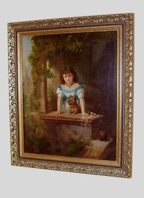 ANTIQUE IMPRESSIVE OIL PAINTING ON CANVAS CHARMING YOUNG GIRL WITH DOG circ 1870