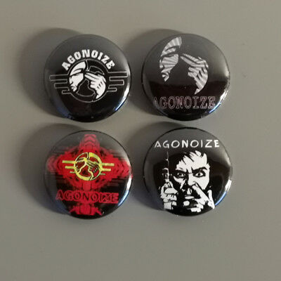 4 Agonoize Button / Pin / Badge / 1 Inch / 25 mm / AggroTech / Gothic / Punk