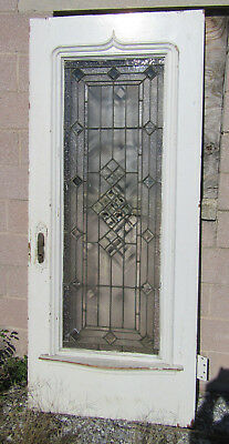 ~ ANTIQUE AMERICAN STAINED GLASS DOOR OAK ~ 35.75 x 83 ~ ARCHITECTURAL SALVAGE ~