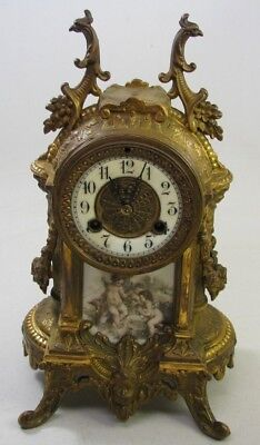 Antique Cast Iron Figural Porcelain Cherub Shelf Clock Case Parts Repair