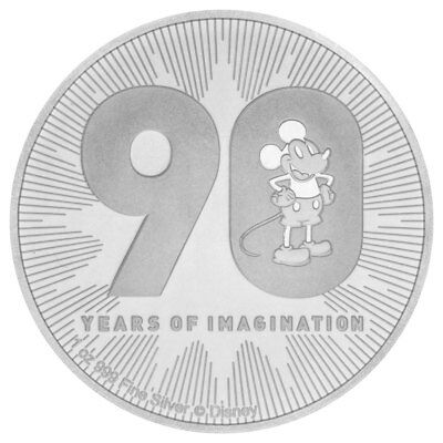 2018 Niue 1 oz Silver Disney Series - Mickey Mouse 90th $2 Coin GEM BU SKU55705