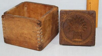 Antique Wheat Pattern Butter Mold Press With Dovetailed Box