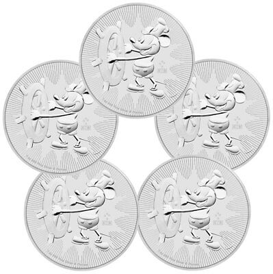 2017 Niue $2 1 oz. Silver Mickey Mouse - Steamboat Willie - Lot of 5 SKU45386
