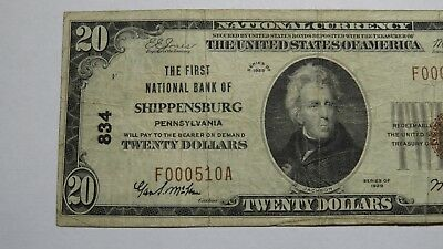 $20 1929 Shippensburg Pennsylvania PA National Currency Bank Note Bill Ch. #834