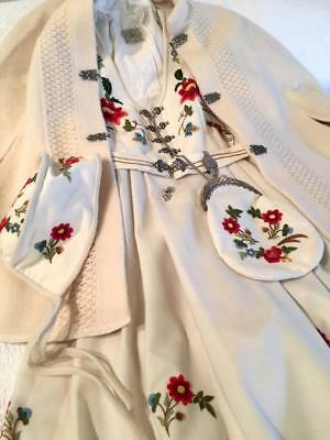 Authentic White Silje  Norwegian Bunad Norway Inc. Cape, Silver, Purse & Hat