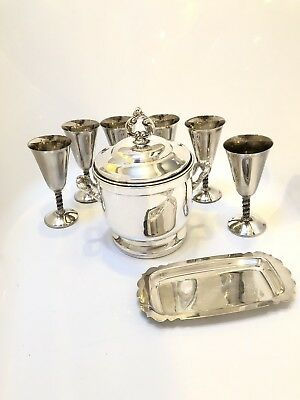 Antique Silver Plated Ice Bucket with 6 sliver Platted Goblets And Butter Tray