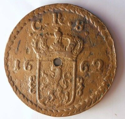 1662 SWEDEN 2 ORE - Very Rare Type - HUGE COPPER TYPE Coin - Lot #N8