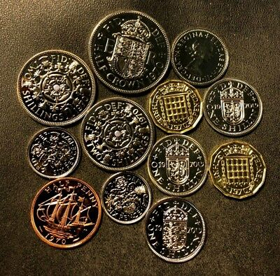 Vintage Great Britain Proof Coin Lot - 1970 - 12 Awesome Low Mint Coins -Lot #N8