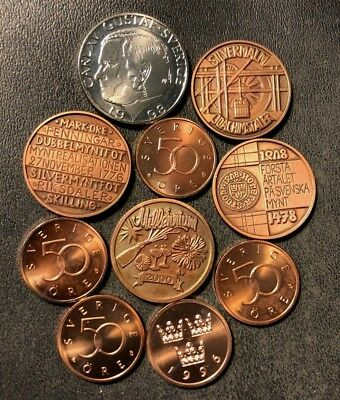 Vintage Sweden Coin Lot - PROOFS/MEDALS - 10 Pieces - Lot #N8