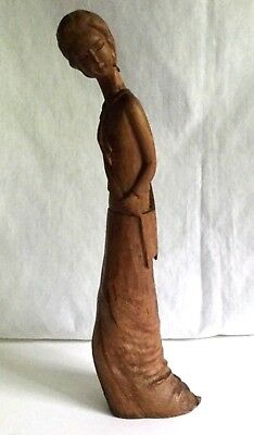 Vintage Asian Hand Carved Wooden Figural Sculpture - Woman in Long Dress 13""
