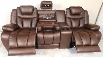 Prime Lane Vantage Home Theater Seating Brown Leather Gel Power Caraccident5 Cool Chair Designs And Ideas Caraccident5Info