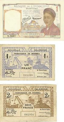 Lot 3 French Colonial Currency Banknotes 1943-1946