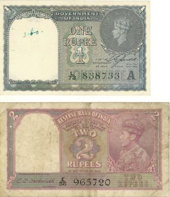 Lot 2 India 10 King George VI Currency Banknotes 1940-1943