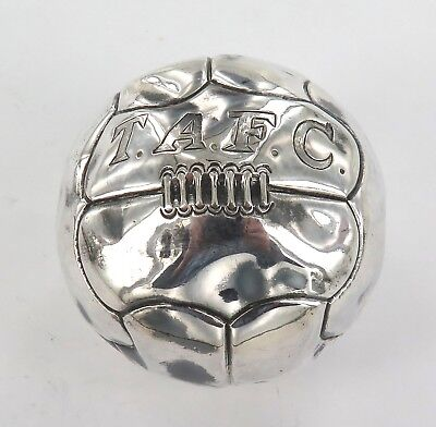 .Rare / Vintage Sterling Silver Ball ….. Soccer / Football. Engraved T.a.f.c.