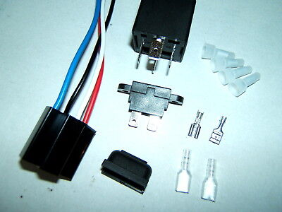 12V 4-Pin 40A Spst Relay Socket Harness 30A Fuse Holder Connectors Complete Kit
