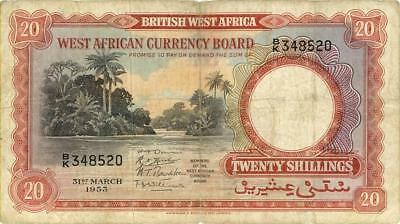 British West Africa 20 Shillings Banknote 1953