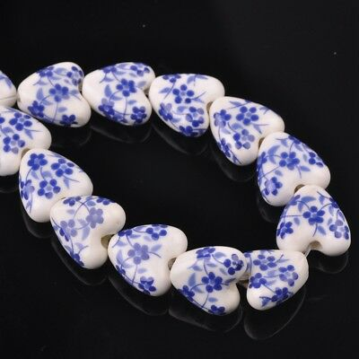 NEW 10pcs 14mm Ceramic Heart Flowers Loose Spacer Beads Findings Pattern #11