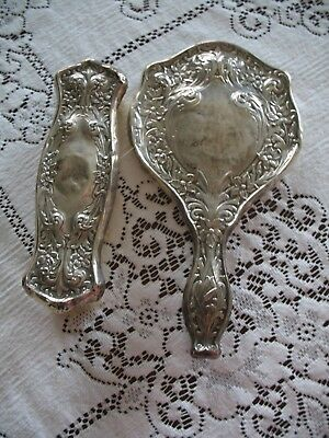 Antique Schmitz, Moore & Co. Sterling Mirror and Brush Grooming Dresser Set