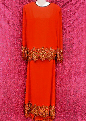 Vintage 80S Tan Chho Flame Red Beaded 2-Piece Cocktail Party Dress Sz Large Wow!