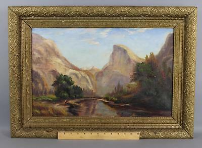 Antique American Western Landscape Oil Painting, Half Dome Mountain Yosemite NR