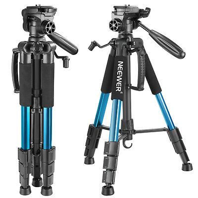 "Neewer Portable 56"" Aluminum Camera Tripod Stand with 3-Way Swivel Pan Head Blue"