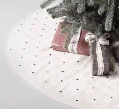 Hearth And Hand Magnolia Quilted Tree Skirt Embroidered X Pattern
