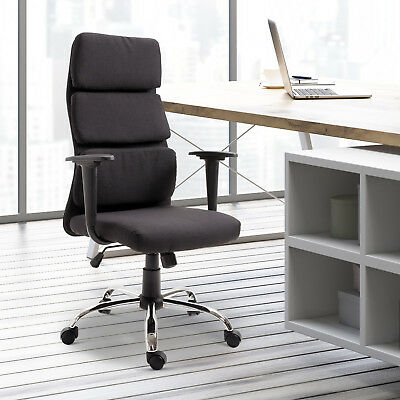 HOMCOM Office Chair Thick Padded Executive Adjustable Swivel Black Home