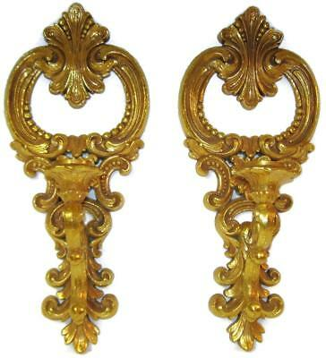 Vintage 1977 Syroco Dart Div Gold Rococo Wall Sconce Candleholder Pair