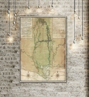 GIANT MISSISSIPPI MAP 1743 Old map Antique decorator Style home decor Wall Map